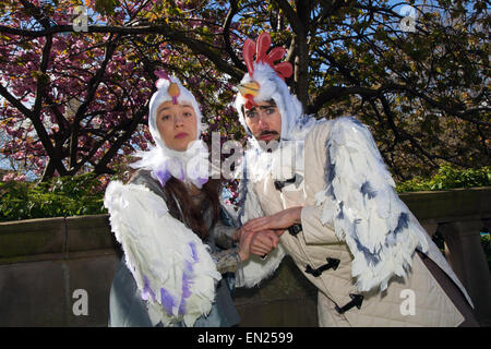 Liverpool, Merseyside, UK 26th April, 2015. Natasha & Greg, dressed as chickens,  from the Liverpool University - Stock Photo