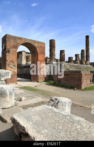 Arch and Temple of Jupiter in the Forum, Pompeii, Italy. - Stock Photo