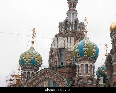 Church of the Savior on Spilled Blood in Saint Petersburg Russia, close up of decorated onion domes - Stock Photo