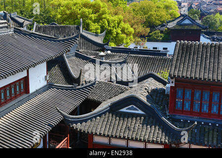 traditional chinese roof tiles in suzhou s old town jiangsu stock