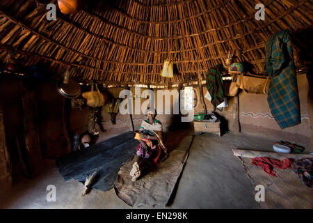 household of the Hamer tribe in Ethiopia - Stock Photo