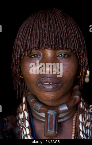 woman of the Hamer tribe in Ethiopia - Stock Photo