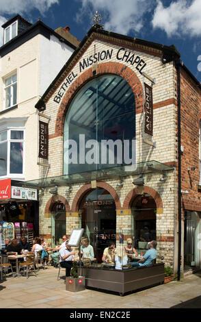 UK, England, Yorkshire, Scarborough, Sandside, former Bethel Mission Chapel, converted to café bar grill - Stock Photo