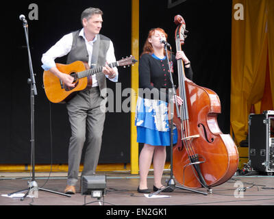 Singers of country music performing on St. George's Day in Grantham, Lincolnshire, England, UK - Stock Photo
