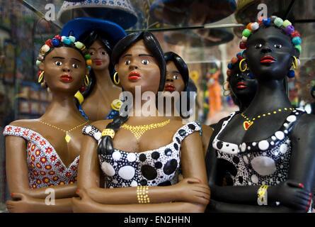 Olinda, Recife, Pernambuco, Brazil, Galeria Sao Salvador, Alto da Se, a gallery of art and crafts. female figurines - Stock Photo