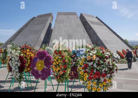 Yerevan, Armenia. 25th Apr, 2015. Armenian Genocide Museum during 100th Anniversary Commemoration Credit:  Dennis - Stock Photo