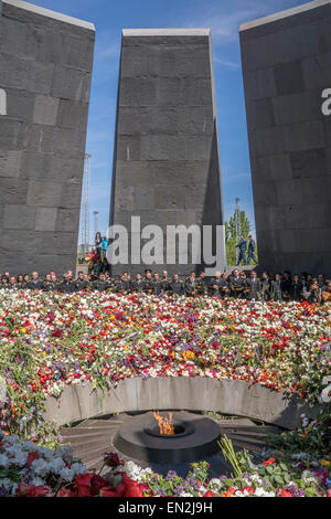Yerevan, Armenia. 25th Apr, 2015. Commemoration at 100th anniversary of the Armenian genocide at the Armenian Genocide - Stock Photo