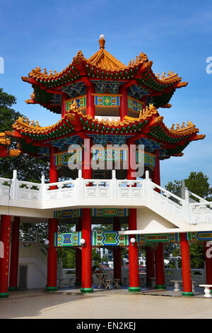 roof decorations on the thean hou chinese temple kuala lumpur stock