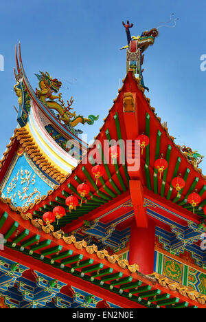 Red lanterns and dragon roof decorations on the Thean Hou Chinese Temple, Kuala Lumpur, Malaysia - Stock Photo
