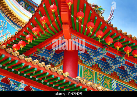 Red lanterns and roof decorations on the Thean Hou Chinese Temple, Kuala Lumpur, Malaysia - Stock Photo