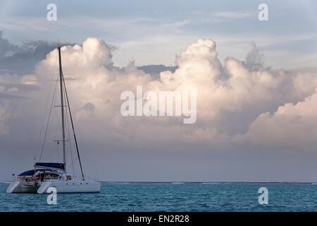 Catamaran anchored for the evening, Tobago Cays Marine Park, Grenadines - Stock Photo