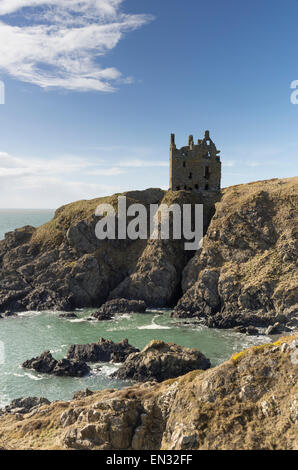 Dunskey Castle at Portpatrick, Dumfries and Galloway, Scotland, March 2015 - Stock Photo