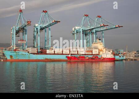 APM Terminals container ship port at Algeciras, Cadiz Province, Spain - Stock Photo