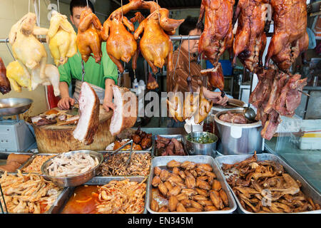 chinese meat food at butcher shop in macau macao street market china - Stock Photo