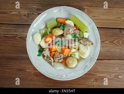 Skirts and kidneys - Irish stew made from pork and pork kidneys. - Stock Photo