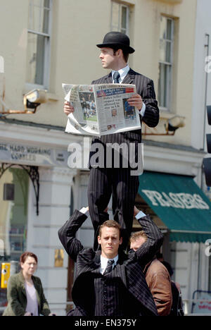 Duo Acrobats who perform their act the English Gents took members of the public by surprise when they went for a - Stock Photo