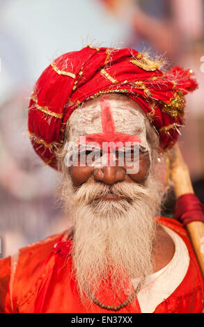 Sadhu, portrait, Varanasi, Uttar Pradesh, India - Stock Photo