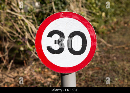 Close-up of thirty miles per hour speed limit sign, UK - Stock Photo