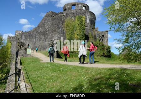 Group of people walking into Dynefwr Castle Llandeilo Carmarthenshire Wales Cymru Uk GB - Stock Photo