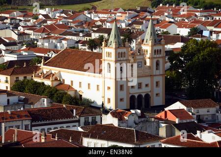 Igreja de Santissimo Salvador da Se cathedral, Angra do Heroismo, Terceira, Azores, Portugal - Stock Photo