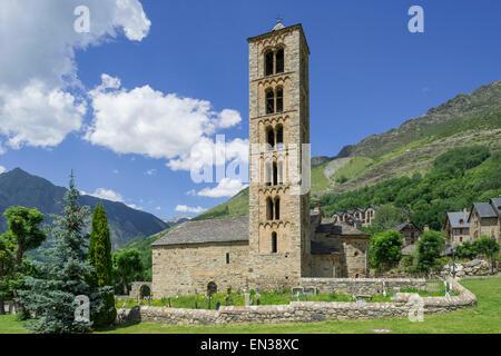 Romanesque church of Sant Climent de Taüll, Unesco World Heritage Site, Vall de Boí, Taüll, Catalonia, Spain - Stock Photo