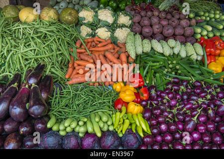 Market stall with okra, cauliflower, beets, carrots, eggplant, cucumbers, peppers, Mattancherry, Kochi, Cochin, Kerala, India
