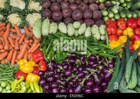 Market stall with okra, cauliflower, beets, carrots, eggplant, cucumbers, Mattancherry, Kochi, Cochin, Kerala, India