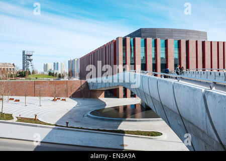 Polish National Radio Symphony Orchestra modern building , Katowice, Poland with Silesian Museum hoist tower in - Stock Photo