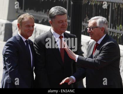 Kiev, Ukraine. 27th Apr, 2015. European Council President DONALD TUSK, Ukrainian President PETRO POROSHENKO and - Stock Photo