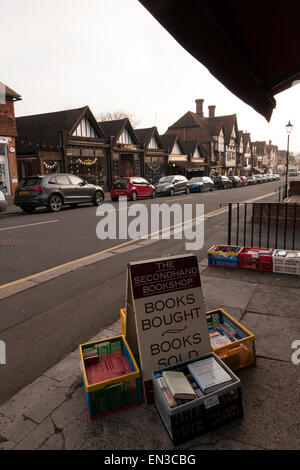 Secondhand books displayed on street outside shop in Oxted, Surrey, England - Stock Photo