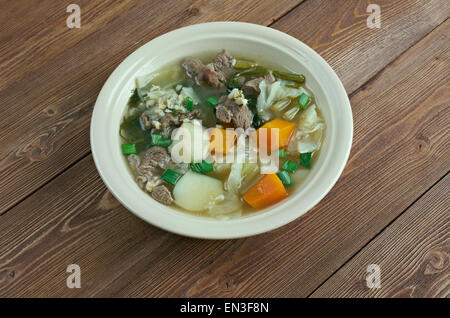 Hairst Bree - Harvest Broth.traditional Scottish recipe for a classic hearty broth of lamb meat, mixed autumnal - Stock Photo