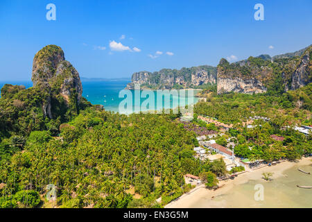 View from the cliff on Railay beach, Ao Nang. Krabi province, Thailand. - Stock Photo