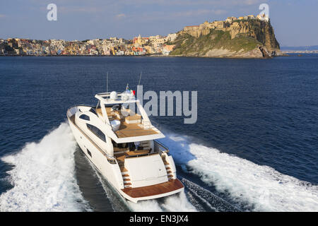 luxury motor yacht in navigation - Stock Photo
