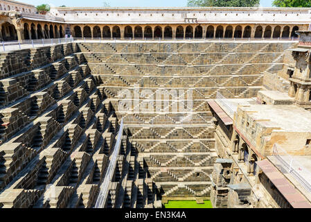 Giant stepwell of abhaneri in rajasthan, india - Stock Photo
