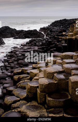 A view over the rocks at Giant's causeway in County Antrim on the northeast coast of Northern Ireland.  Credit: - Stock Photo