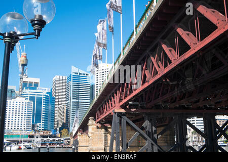 Darling Harbour tourism area and pyrmont bridge  in Sydney central business district,australia - Stock Photo