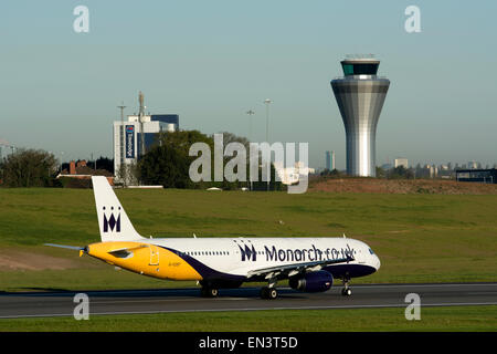 Monarch Airlines Airbus A321 (G-OZBT) taking off at Birmingham Airport, UK - Stock Photo