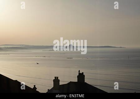 Cornwall, Penzance near Marazion. St Michael's Mount view from Hotel window at sunrise - Stock Photo