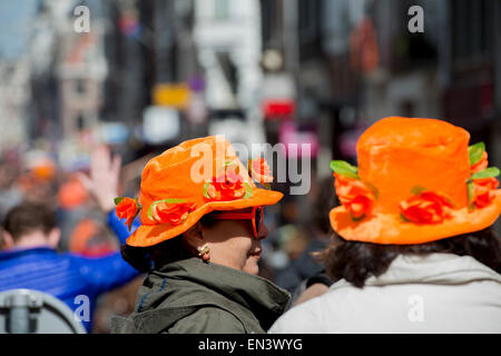 Amsterdam, Netherlands. 27th April, 2015. Dutch people celebrate the birthday of King Willem Alexander today. Dress - Stock Photo
