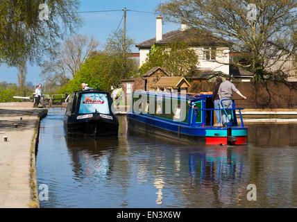 Canal boats at Grindley Brook locks, Near Whitchurch, Shropshire, England. - Stock Photo