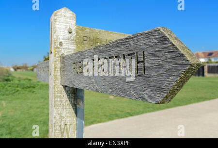 Public footpath sign in West Sussex, England, UK. - Stock Photo