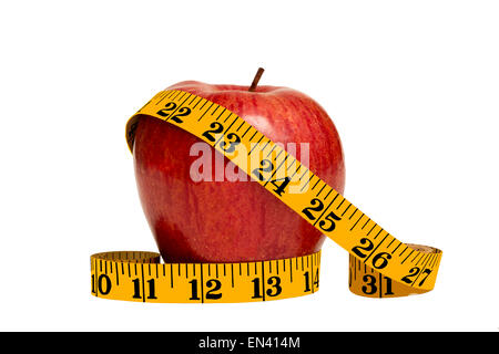 Healthy Red Apple And Tape Measure Close Up - Stock Photo