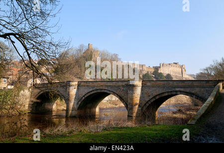 Richmond Castle, the River Swale and Green Bridge, Richmond town, North Yorkshire England UK - Stock Photo