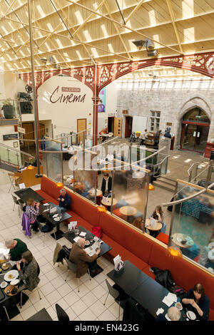 The restored Richmond Railway Station, now a cinema, art gallery and shops, Richmond, Yorkshire England UK - Stock Photo