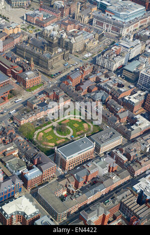 An aerial view of Park Square and the Town Hall, Leeds City centre, April 2015, West Yorkshire, Northern England, - Stock Photo