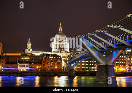 Saint Paul's cathedral in London, United Kingdom in the evening - Stock Photo