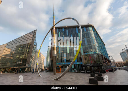 The Cardiff Library and the Alliance sculpture, by Paris installation artist Jean-Bernard Métais, - Stock Photo
