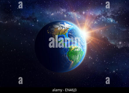 Illuminated face of the Earth in space. Detailed view of American continent. Elements of this image furnished by - Stock Photo