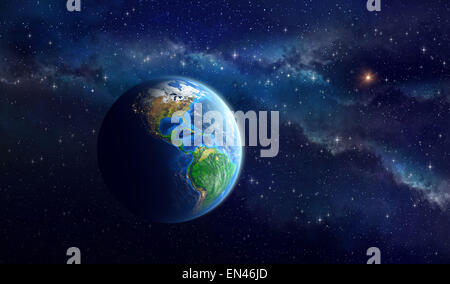 Earth in outer space. View of American continent. Elements of this image furnished by NASA - Stock Photo