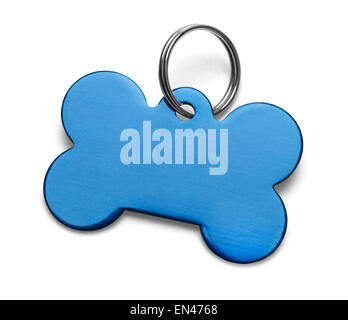 Blank Metal Bone Dog Tag With Ring Isolated on White Background. - Stock Photo